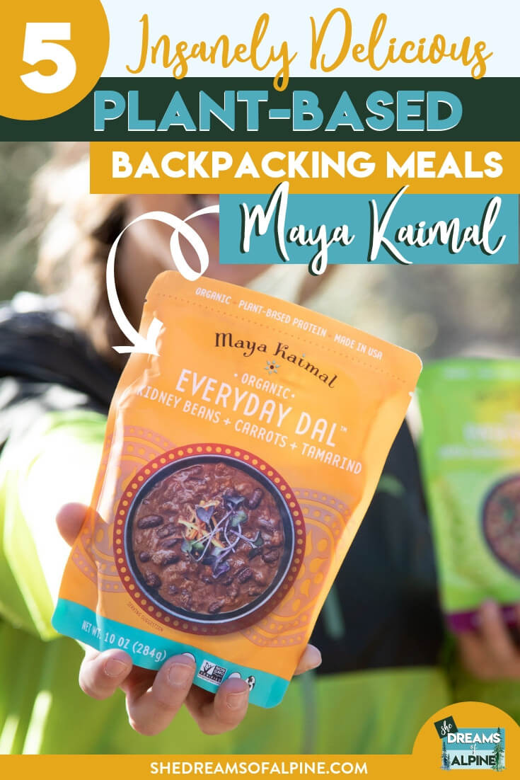 Insanely Delicious Vegan Backpacking Food with Maya Kaimal's Everyday Dals |  Let's face it. Delicious backpacking food that is ALSO healthy can be hard to come by. So naturally, I was thrilled when Maya Kaimal reached out to me about trying their Everyday Dals, which are a perfectly sized for the ultimate vegan backpacking meal. In this post I'll reveal what I love about them the most and which of the flavors is my absolute favorite! | shedreamsofalpine.com