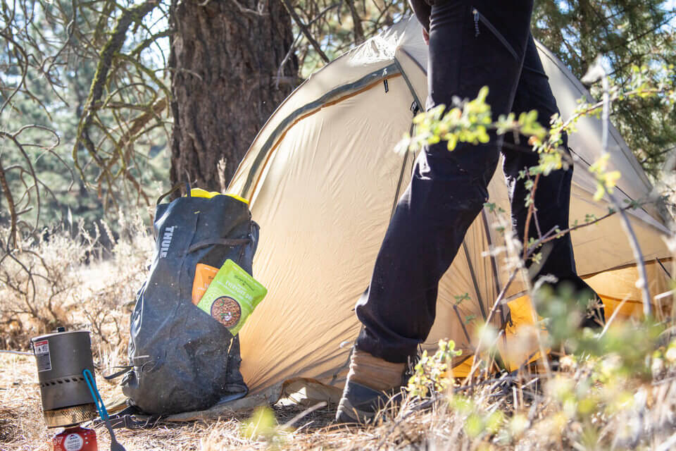 This is one of my favorite foods to take with me camping for a high-protein backpacking meal.
