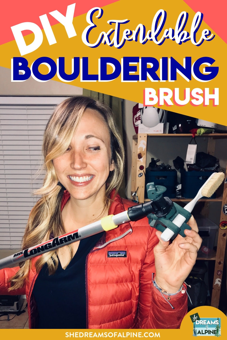 Super Simple DIY Extendable Bouldering Stick Brush |  This post goes over how to make a quick and easy homemade extendable climbing brush to take with you next time you go bouldering. The tutorial is super simple, and this bouldering brush will make a fantastic addition to your rock climbing gear arsenal. | shedreamsofalpine.com