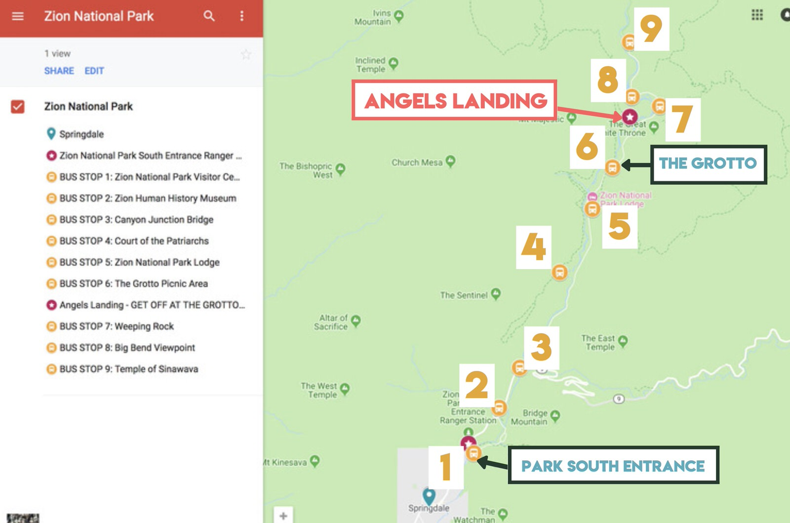 Map of the bus stops in Zion National Park and the location of the Angels Landing Trail.