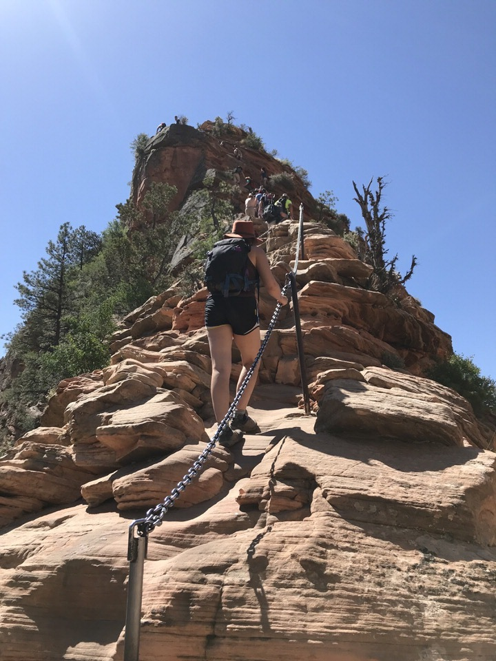 The chains along Angels Landing's spine help keep you steady on your hike up to the top.