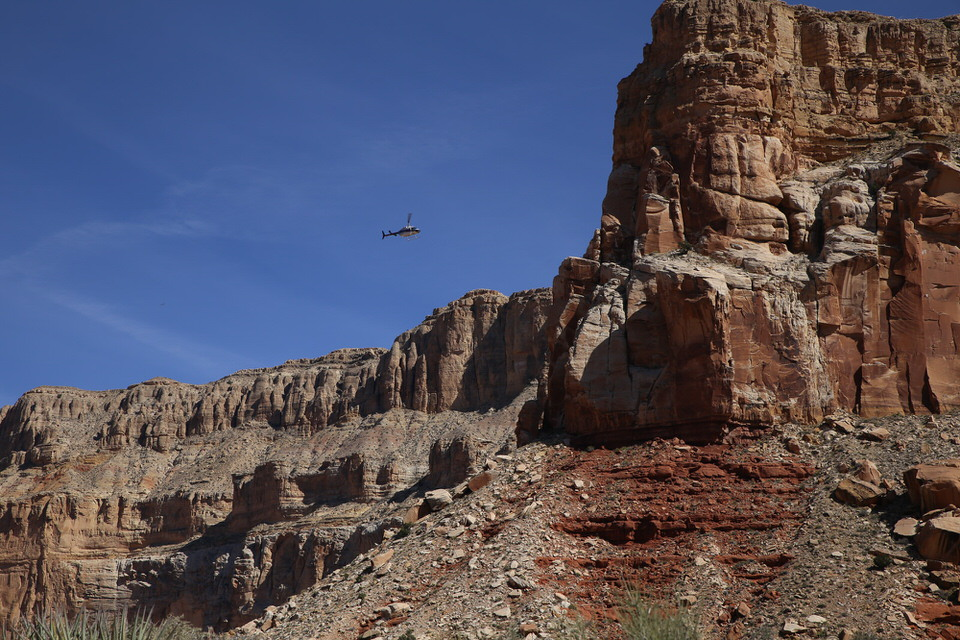 Helicopter flying in and out of the Havasu Falls area.