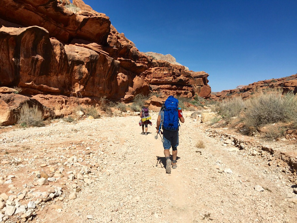 Hiking down to Supai Village to confirm our Havasupai permits.