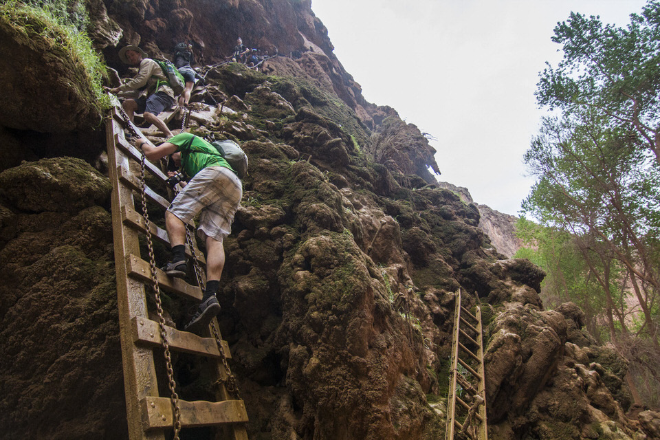 Going down the ladders to get to Mooney Falls
