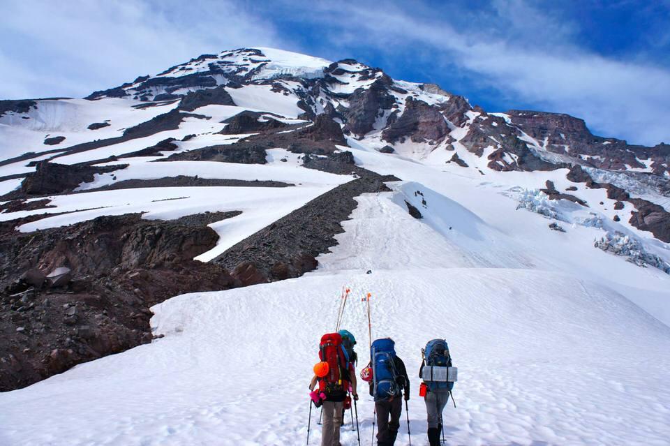 Mountaineering Mt. Rainier.