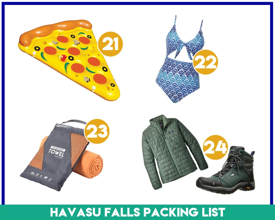 Gear items 21-24 of what to pack for Havasu Falls hike.