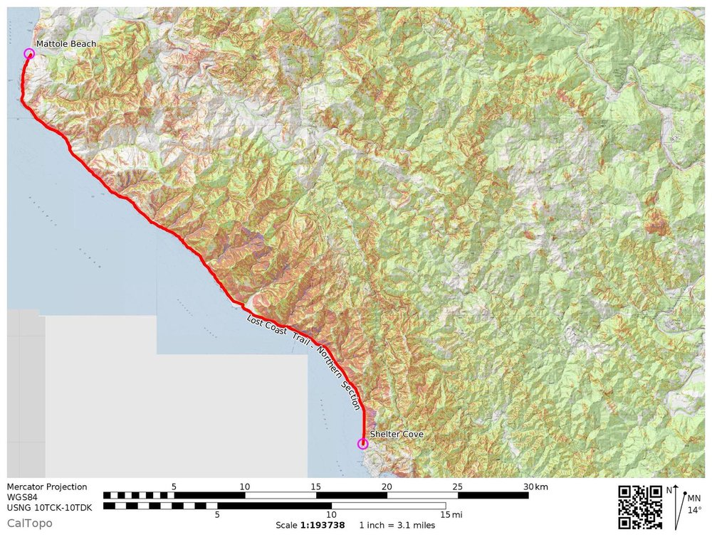 Cal Topo of the Lost Coast Trail Map