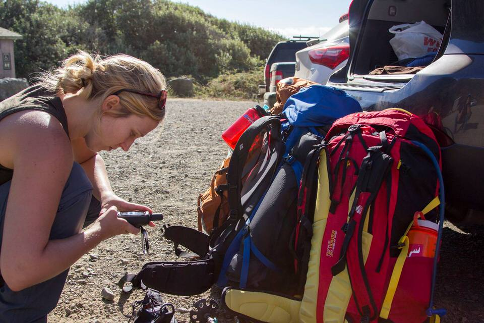 Setting up my GPS before the Lost Coast Trail hike