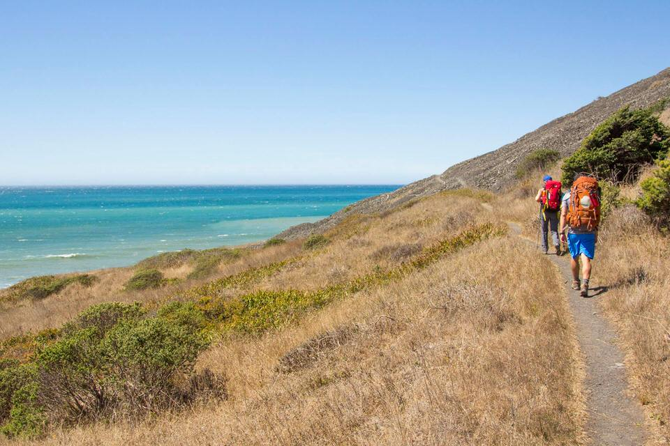 Hiking along the Lost Coast Trail toward Mattole beach trailhead