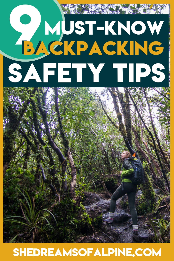 "9 Must-Know Backpacking Safety Tips - Particularly if You Want to Go Solo |  A key component to being a self-sufficient and confident outdoor backpacker and hiker is being aware of the most essential hiking safety and backpacking safety rules and best practices out there. Many people love the allure of backpacking outdoors, but wonder to themselves, ""Is backpacking safe?"" And even more so if they are wanting to go backpacking or hiking alone.   I think it's important that we address some of the top ways we can increase our outdoor safety on the trails when backpacking, and that's what this article is all about.   