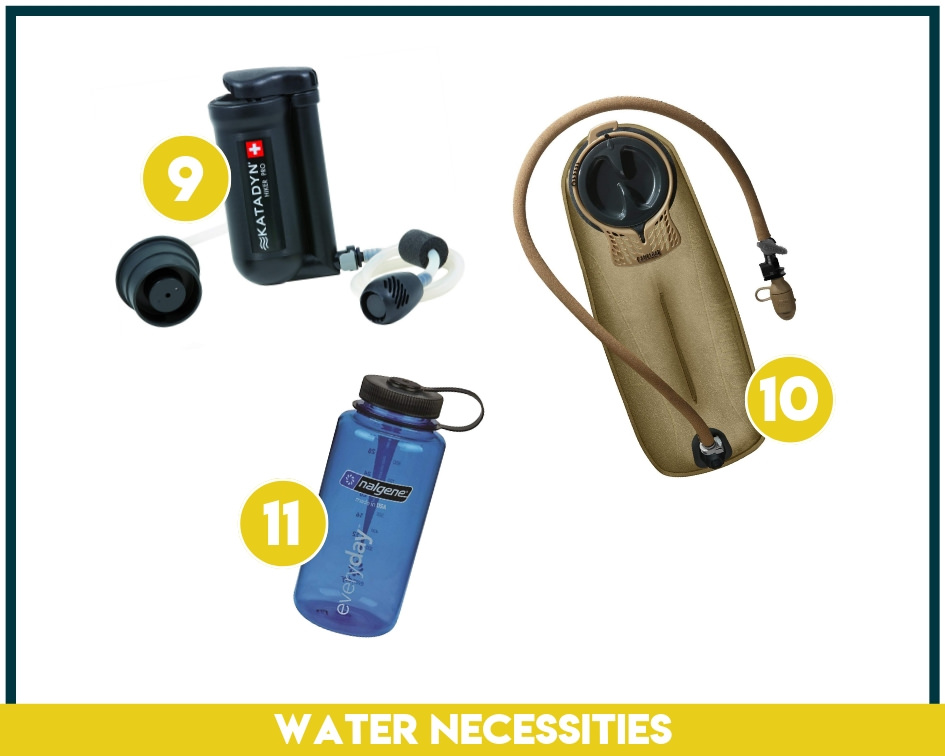 Backpacking supplies like water filters, camelbaks, and nalgenes should always be top of your backpacking checklist!