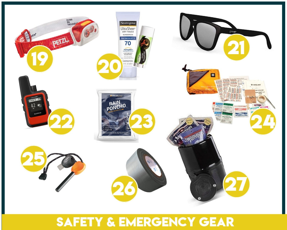 Safety and emergency backpacking equipment like headlamps, first aid kits, etc. should always make it onto your backpacking packing list.