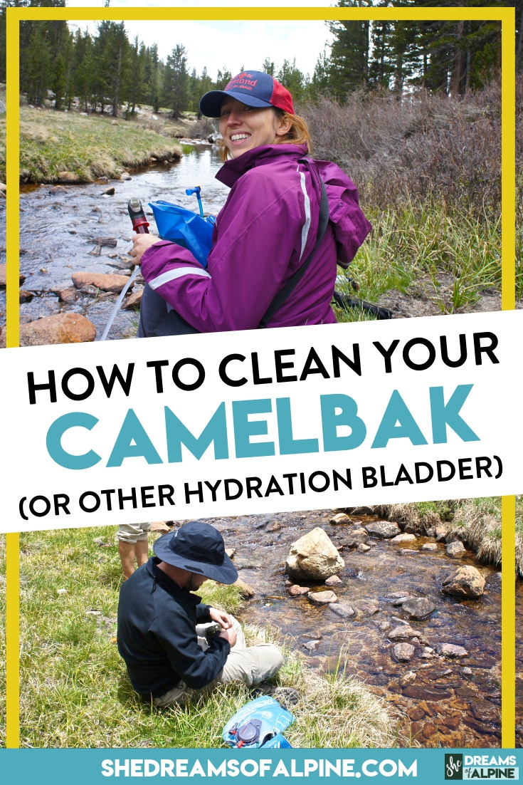 How to Clean a Camelbak - 3 Quick & Easy Methods! |  Cleaning your Camelbak (or cleaning any hydration bladder) is really very simple. In this quick tutorial I'm going to show you 3 super simple methods for keeping your hydration pack clean and mold free! | shedreamsofalpine.com