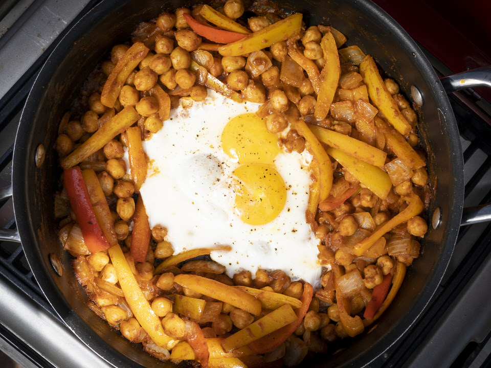 Hash is a classic camping food recipe, this chickpea hash is just a twist on that classic!