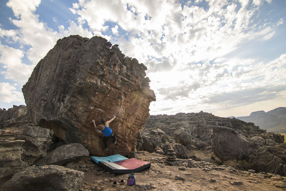 Girl Bouldering in South Africa.