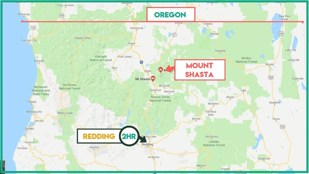 Mount Shasta is located in Northern California near the border of California and Oregon.