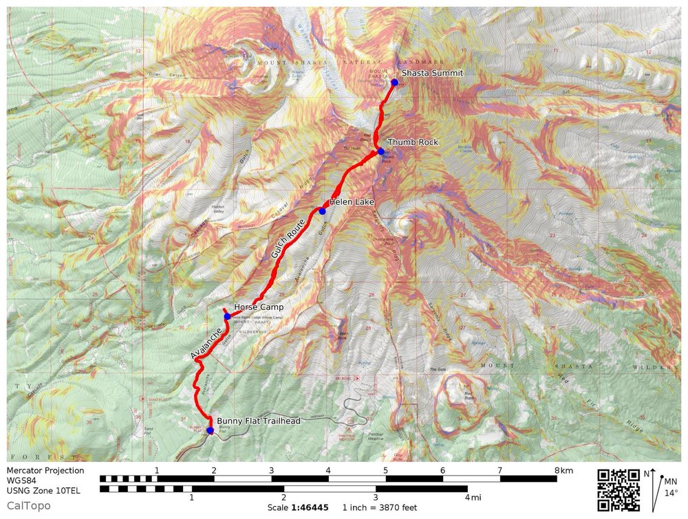 CalTOPO Map of the Avalanche Gulch Trail and key waypoints.