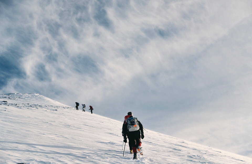 Mountaineers climbing Mt. Shasta
