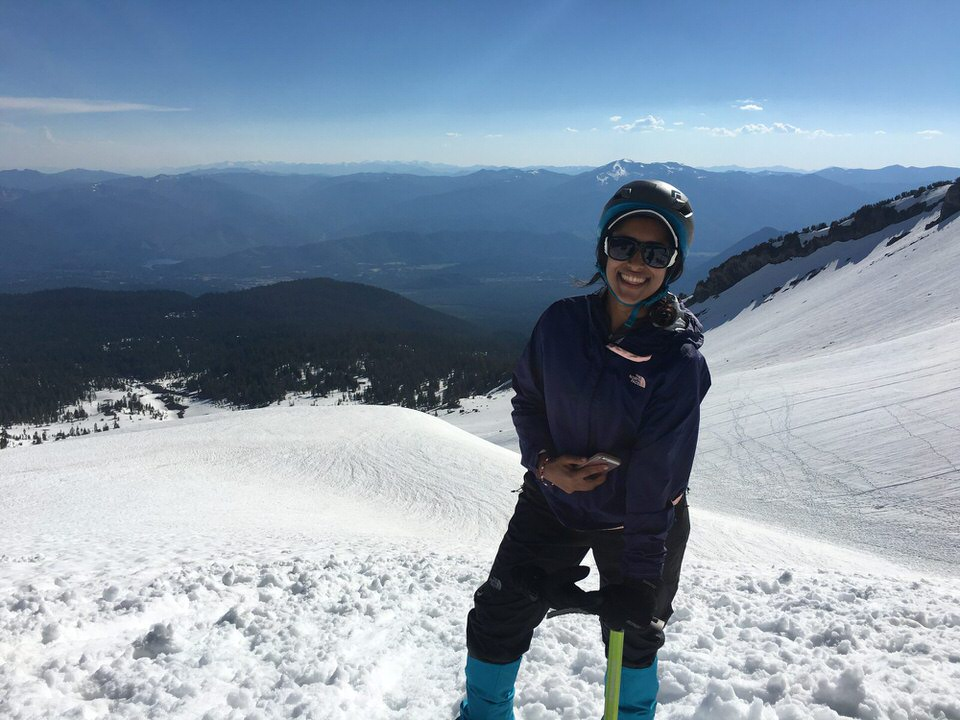 Ashima practicing her mountaineering skills on Mount Shasta