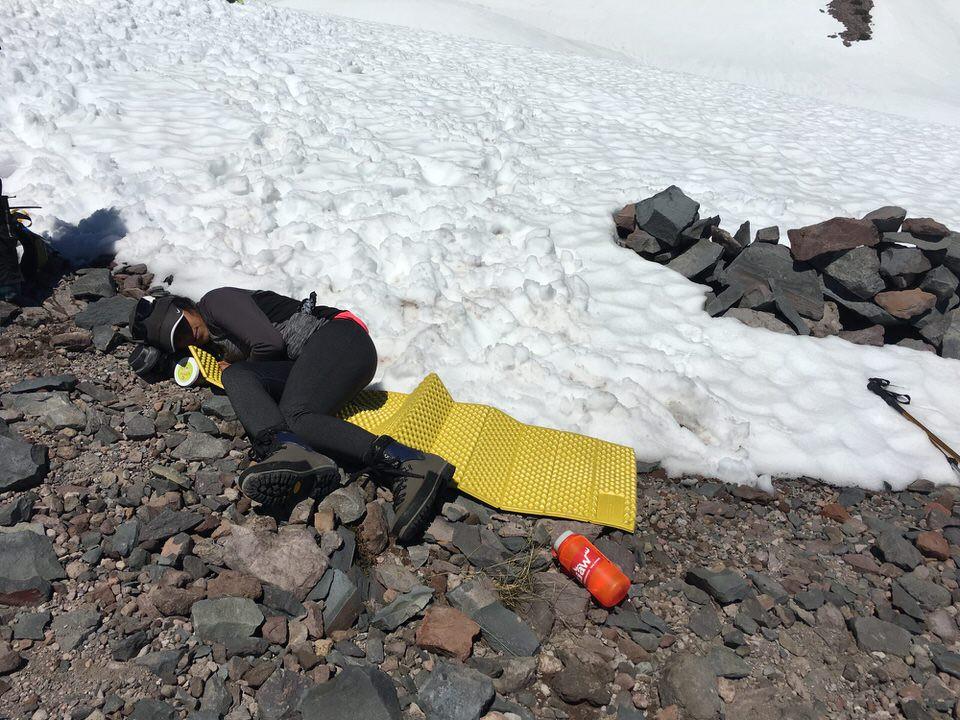 Ashima resting on Mt. Shasta.