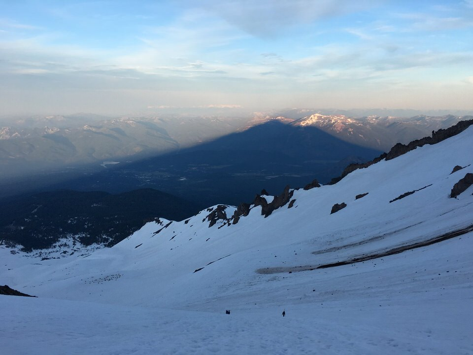Shadow of Mount Shasta from Avalanche Gulch route.