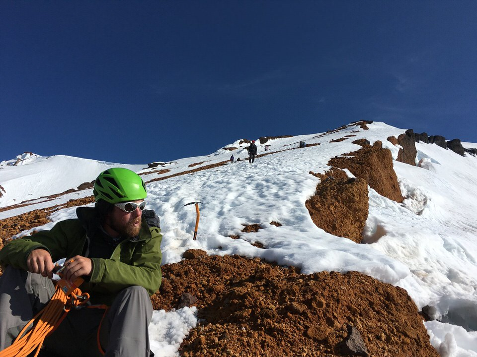 Our rest at the top of Red Banks on Mount Shasta