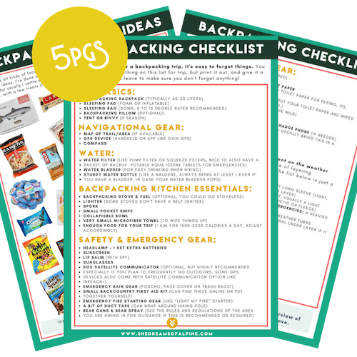 Essential Backpacking Resources & Packing Checklist - Grab our full Backpacking Gear Checklist that is perfect for 2-5 day backpacking trips. In addition to this organized checklist, you'll also gett a visual checklist, layering essentials tip-sheet, and 25+ backpacking food ideas that we personally love on backpacking trips.