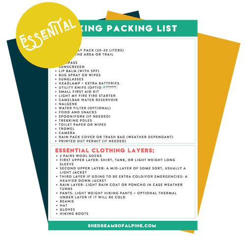 Day Hiking Packing Checklist - We're making packing for your next hiking adventure easy. Download our essential hiking gear packing list, and you'll always be prepared when you hit the trails!