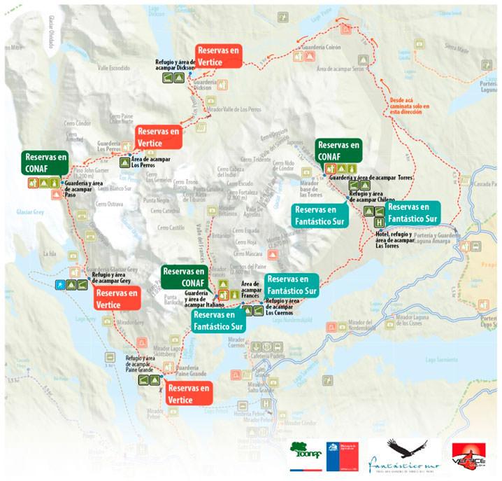 Map of the W-trek Loop