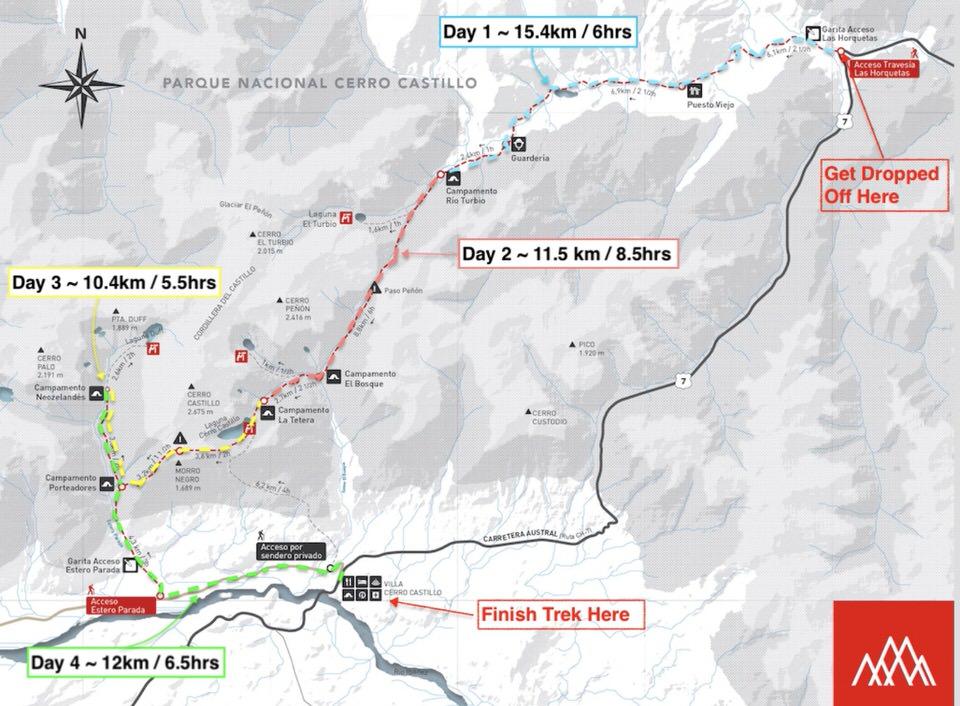 Cerro Castillo 4 Day Trek Map