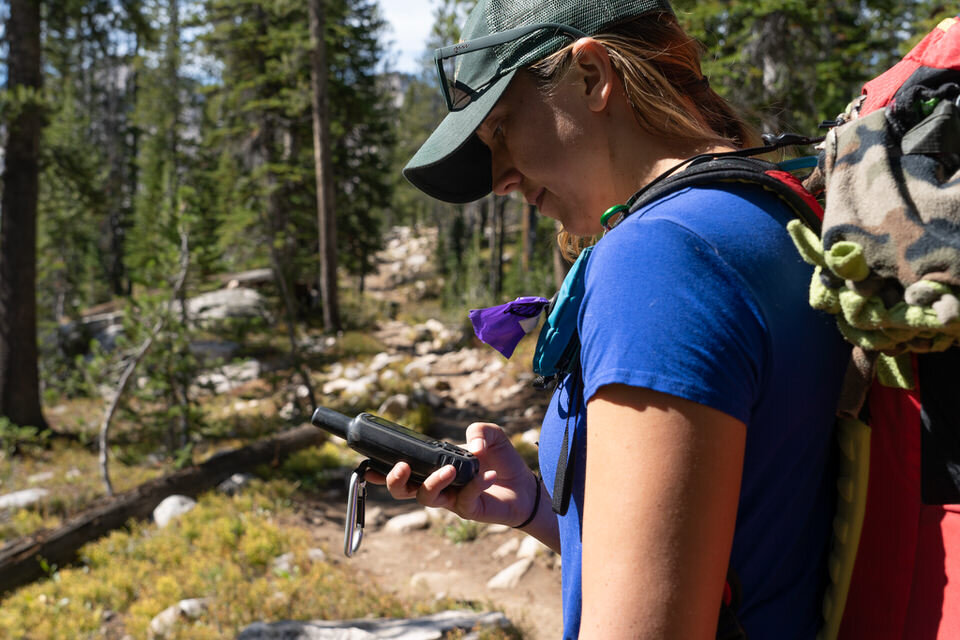 Reviewing my Alice Lake GPS data on the trail.