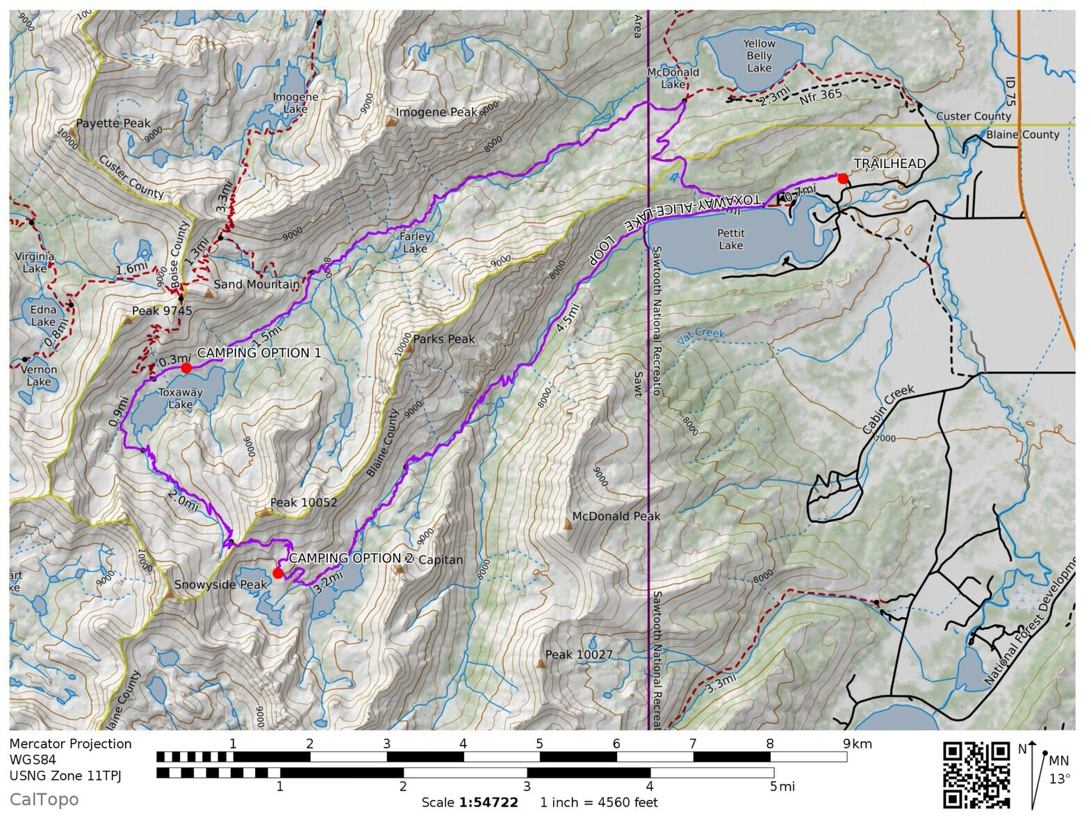 The Alice Toxaway Loop Trail Map