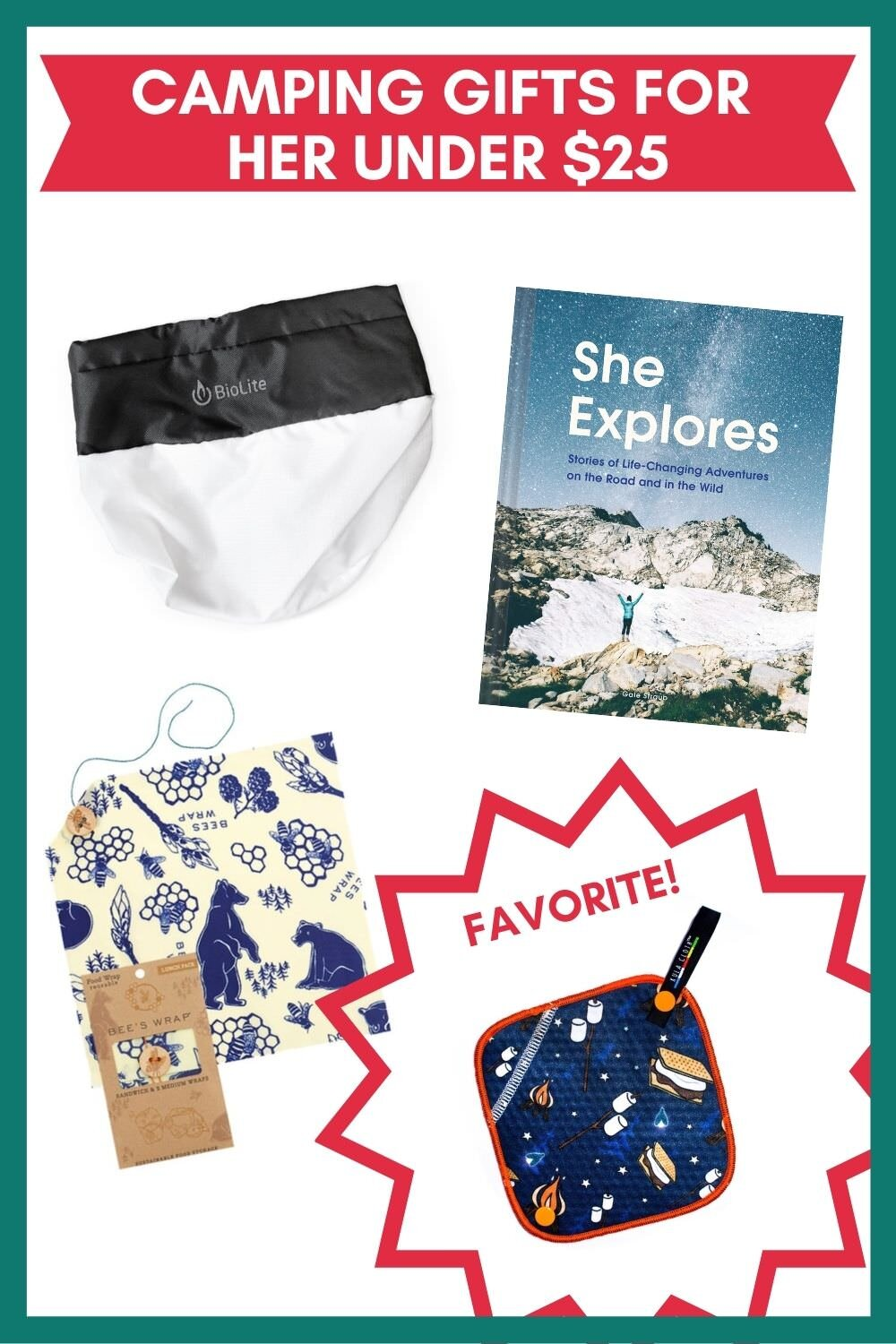 Unique camping gifts for her under $25.
