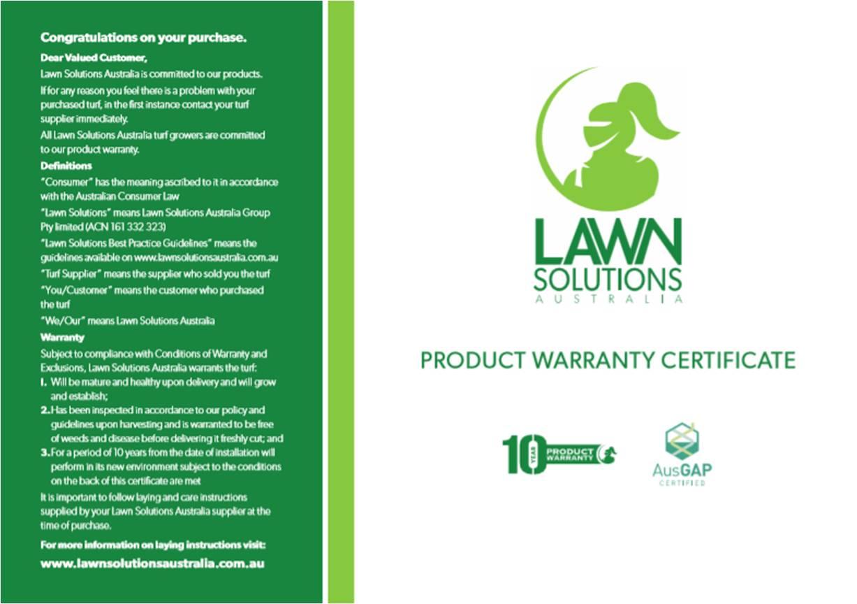 Superior Lawns 10 year warranty