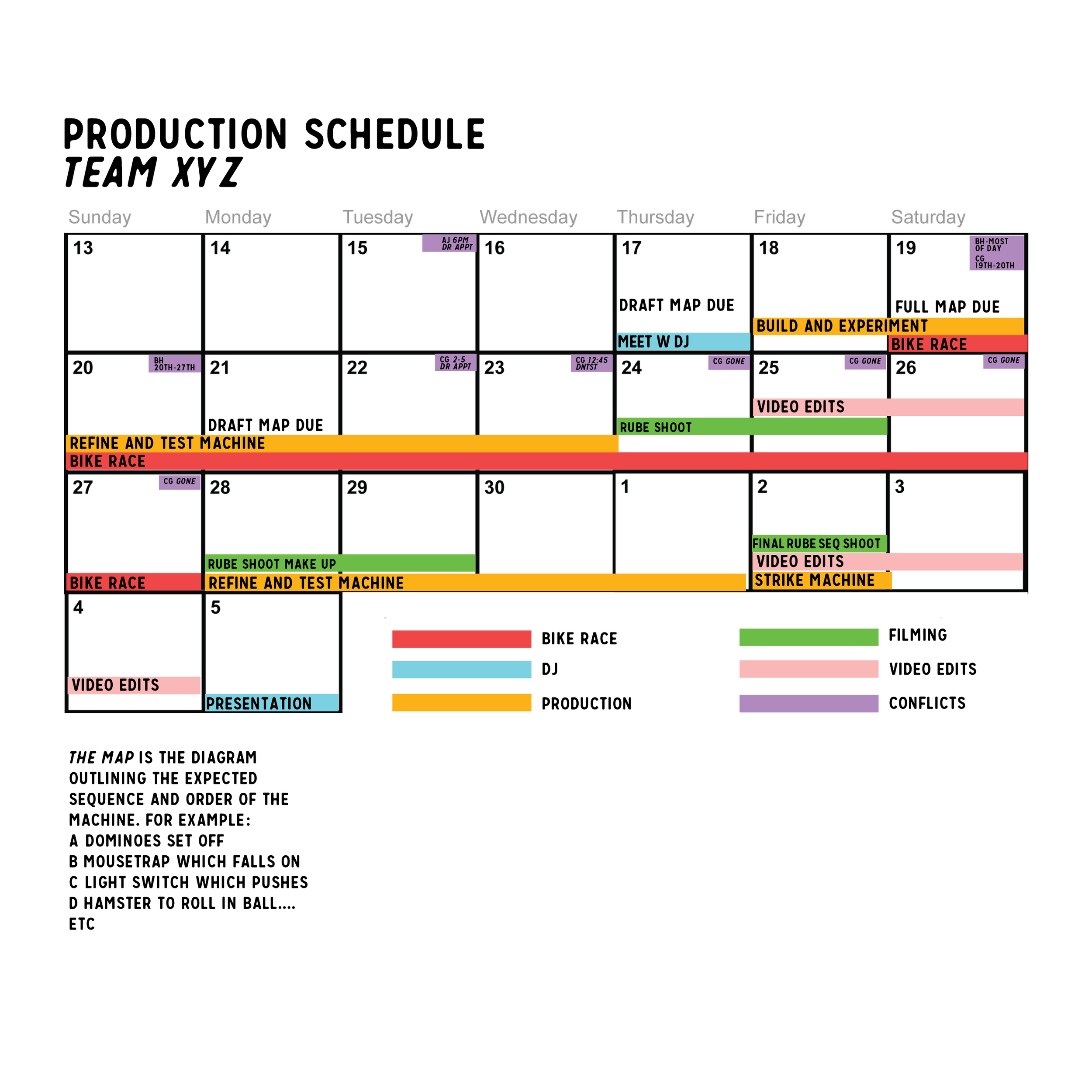 Tight production schedule.