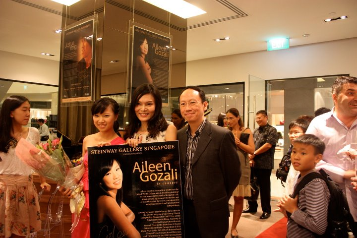 with Celine Goh (General Manager of Steinway Gallery Singapore) and my former teacher Benjamin Loh