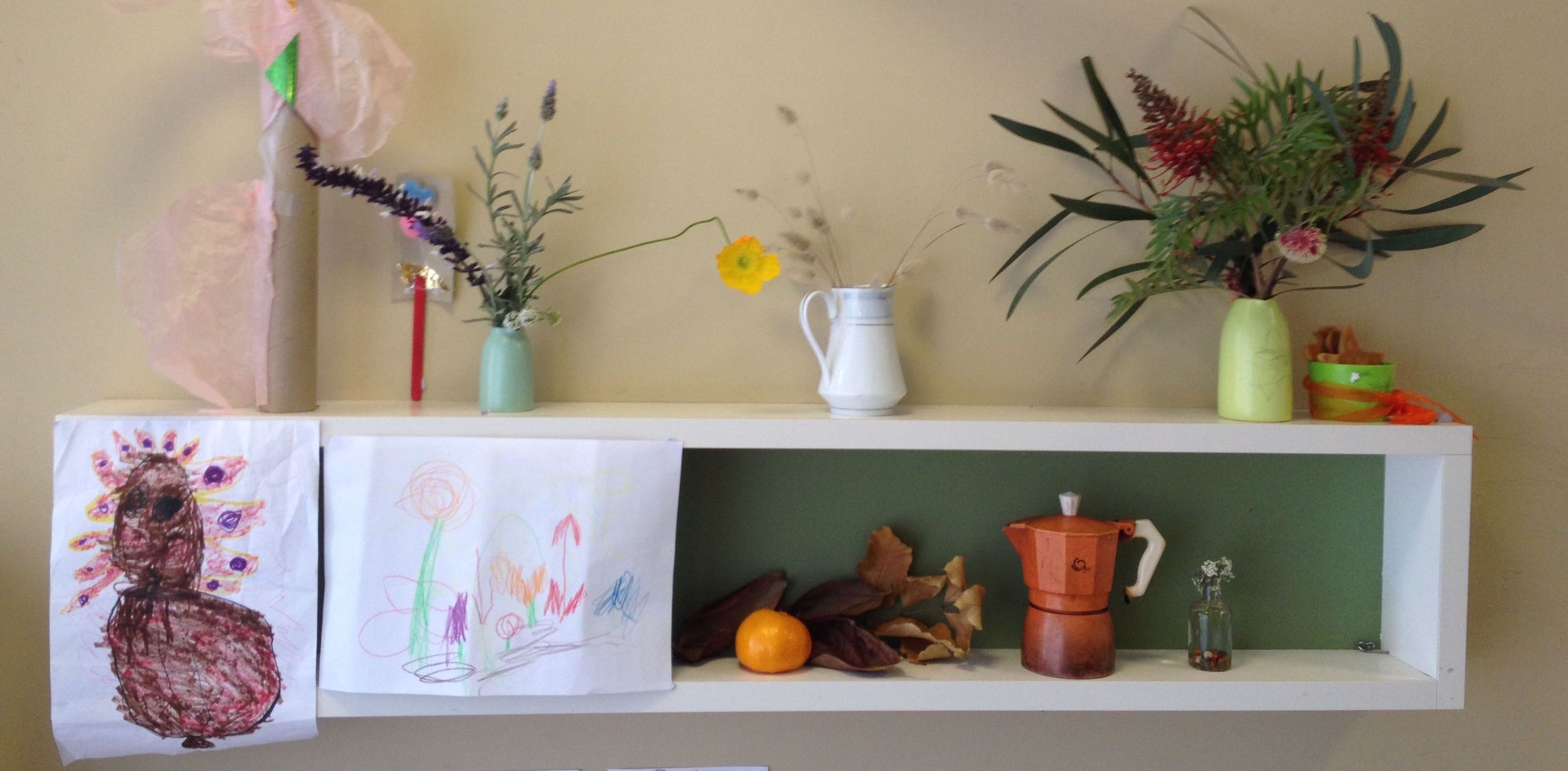 Shelf in Emmaline's room at Caritas Christi, 1 June 2015.