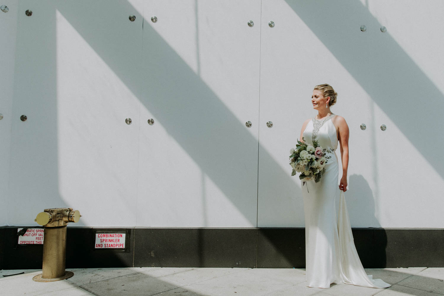 Tall & Small Events NYC, L&W, Modern Industrial OutdoorCross-CulturalBritish American Summer Wedding, New York City Real Wedding at The Foundry, LIC NY. Photo: Shannon for Amber Gress Photography