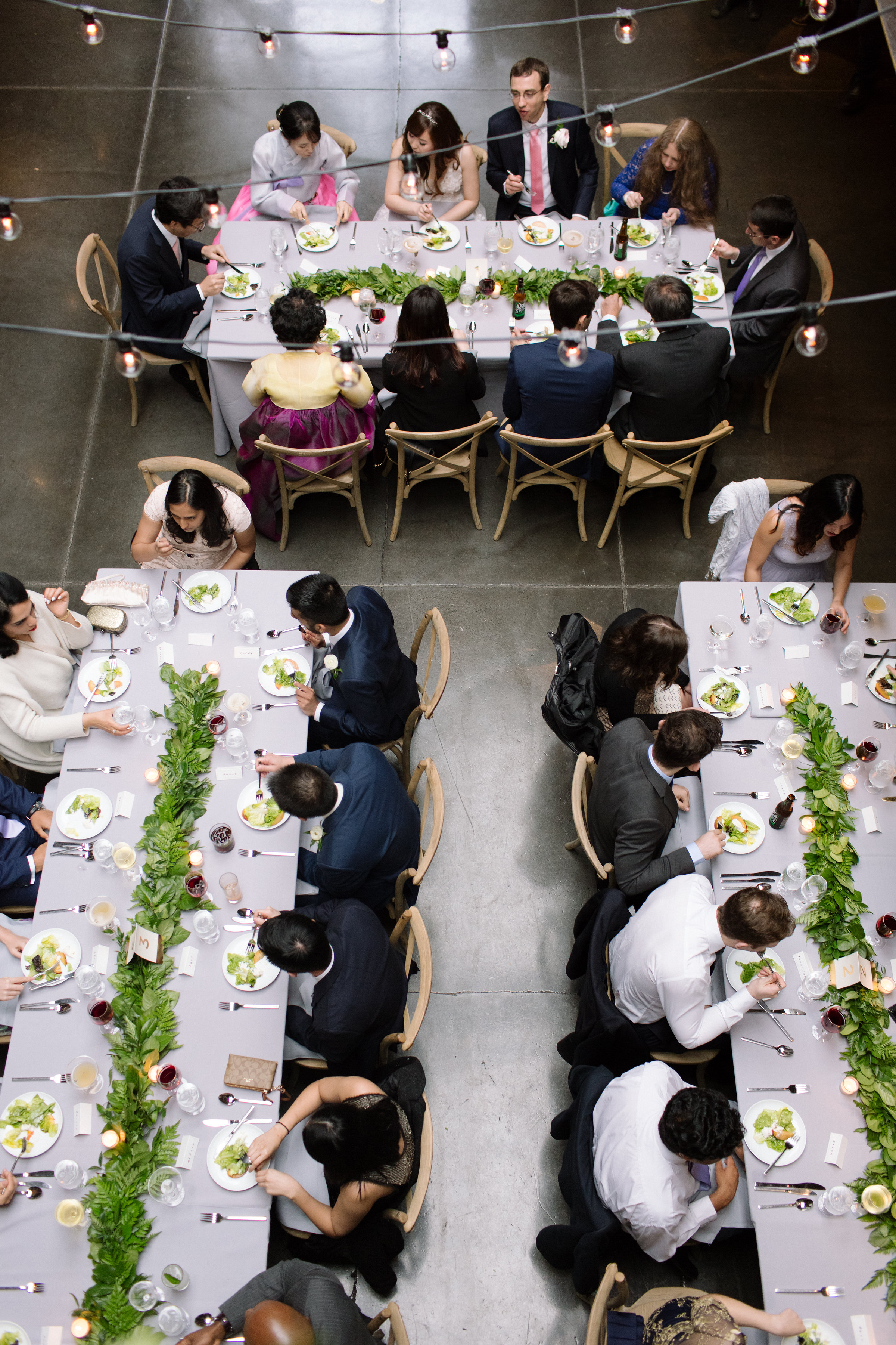 Tall & Small Events NYC, H&B, Modern Indoor Urban Industrial Multicultural Korean Spring Wedding, New York City Real Wedding at The Foundry, LIC NY. Photo: City Love Photography