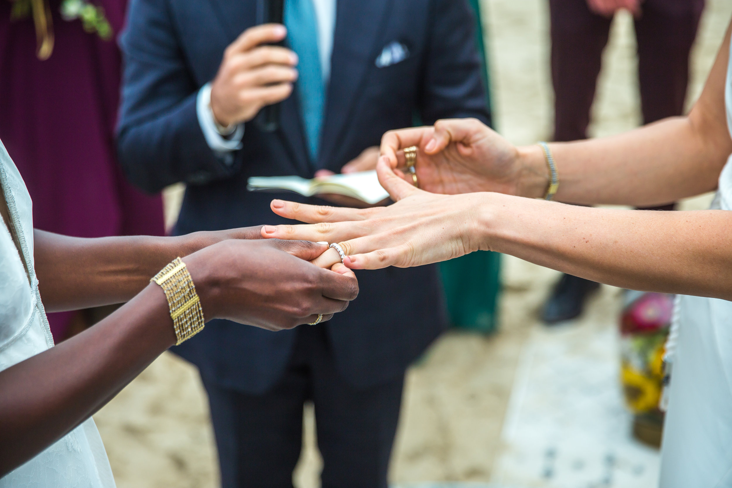 Tall & Small Events NYC, D+K, Modern, IntimateBohemian Beach Ceremony and Same Sex Real Wedding at Private Residence, Montauk, New York City. Photo: Alexander Kusak