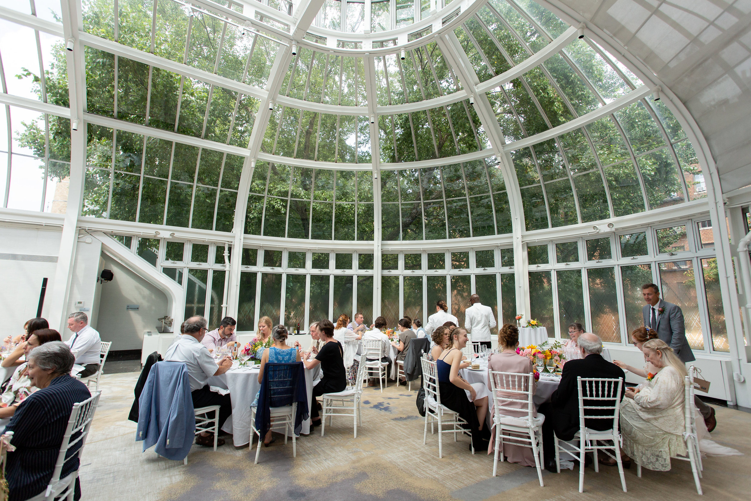 Tall & Small Events NYC, R+J, Colorful Intimate Summer Garden Brunch Wedding at the Palm House, Brooklyn Botanic Gardens, Brooklyn New York City. Photo: Kristy May Photography.