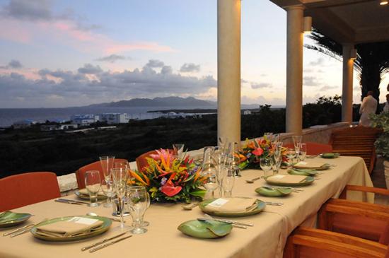 Bird of Paradise front verandah. Caribbean Sea and Saint Martin in the background. Susan Croft Photography