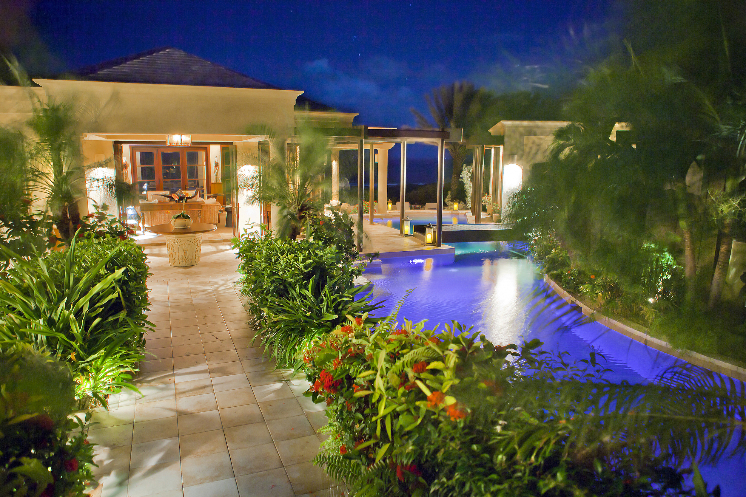 LED lights allow you set themood by changing the color of the pool lights or set different light shows.