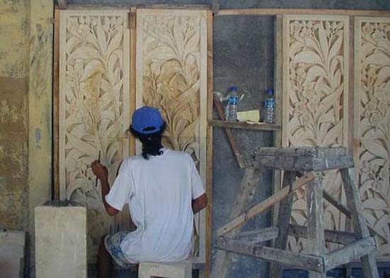 Hand-carved limestone panels for entrance gates. Photo taken in Bali during fabrication.