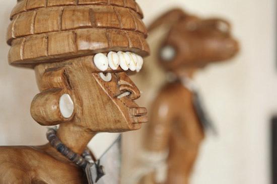 Top of carving of warrior (Solomon Islands)