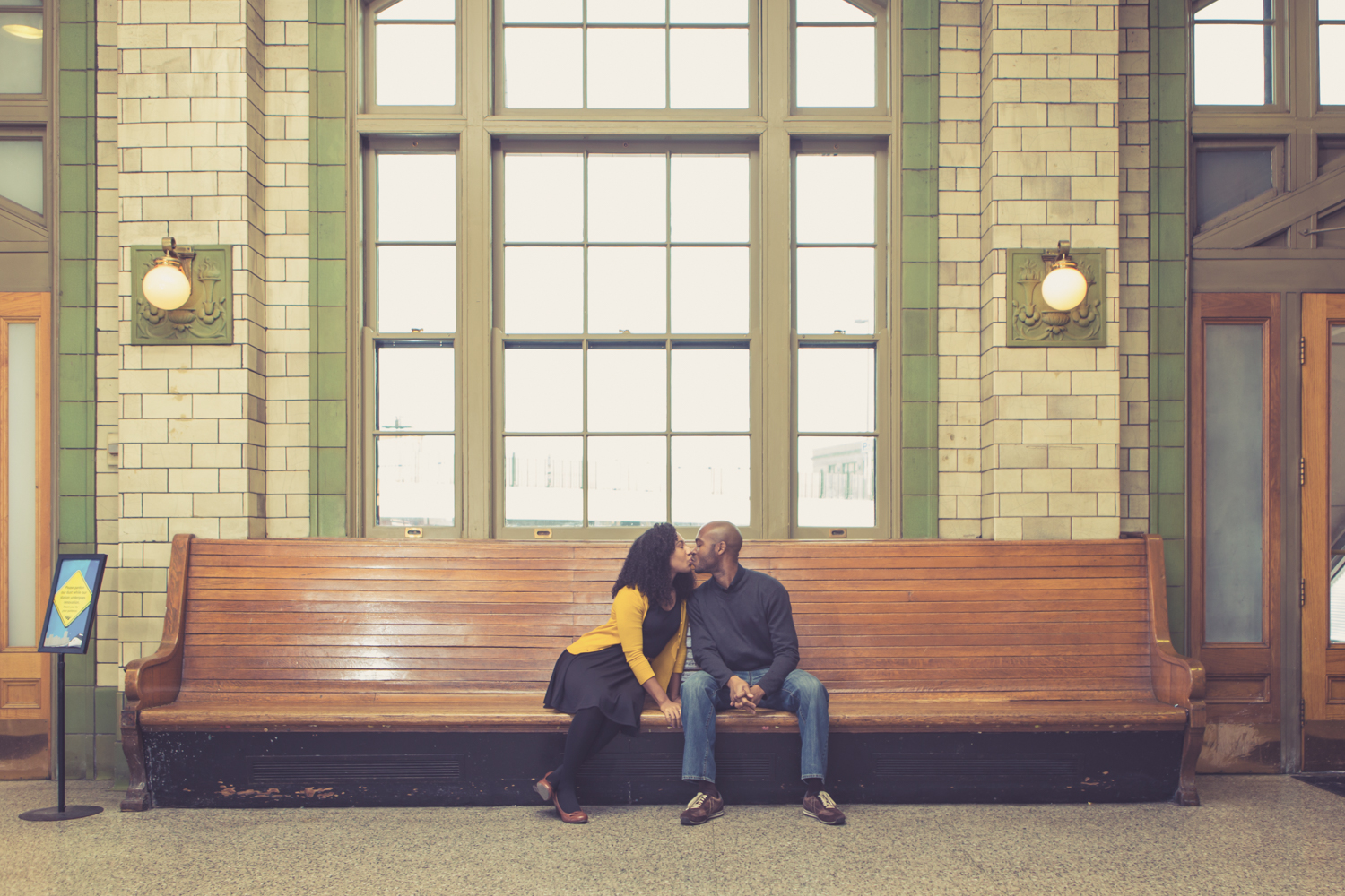 Engagement Portrait of Couple at Penn State Train Station in Baltimore by Lamonte G Photography