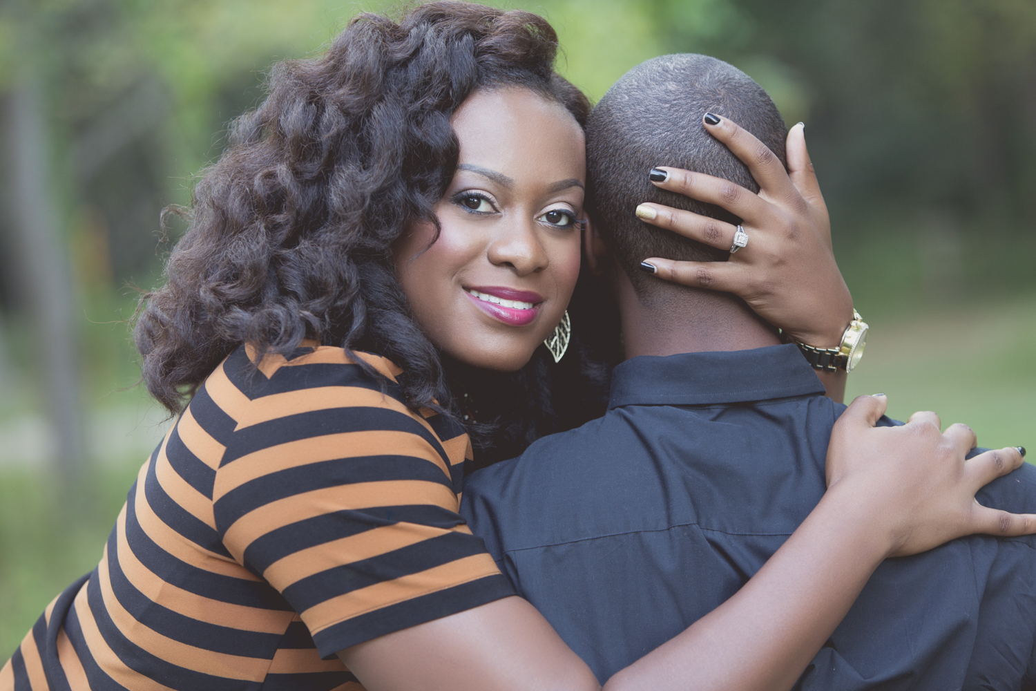Engagement Portrait of Couple Facing Opposite Directions by Lamonte G Photography Orlando