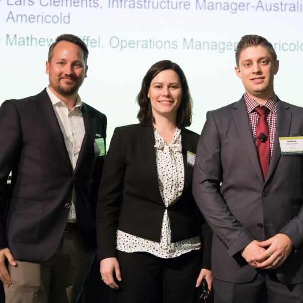 (Left to right) Lars Clement - Infrastructure Manager, ANZ (Technology Solutions Group), Americold (QLD). Ashlee Arnall, Customer Engagement Manager - Swire Cold Storage, Pty Ltd (NSW). Mathew Reiffel - Operations Manager, Americold Logistics