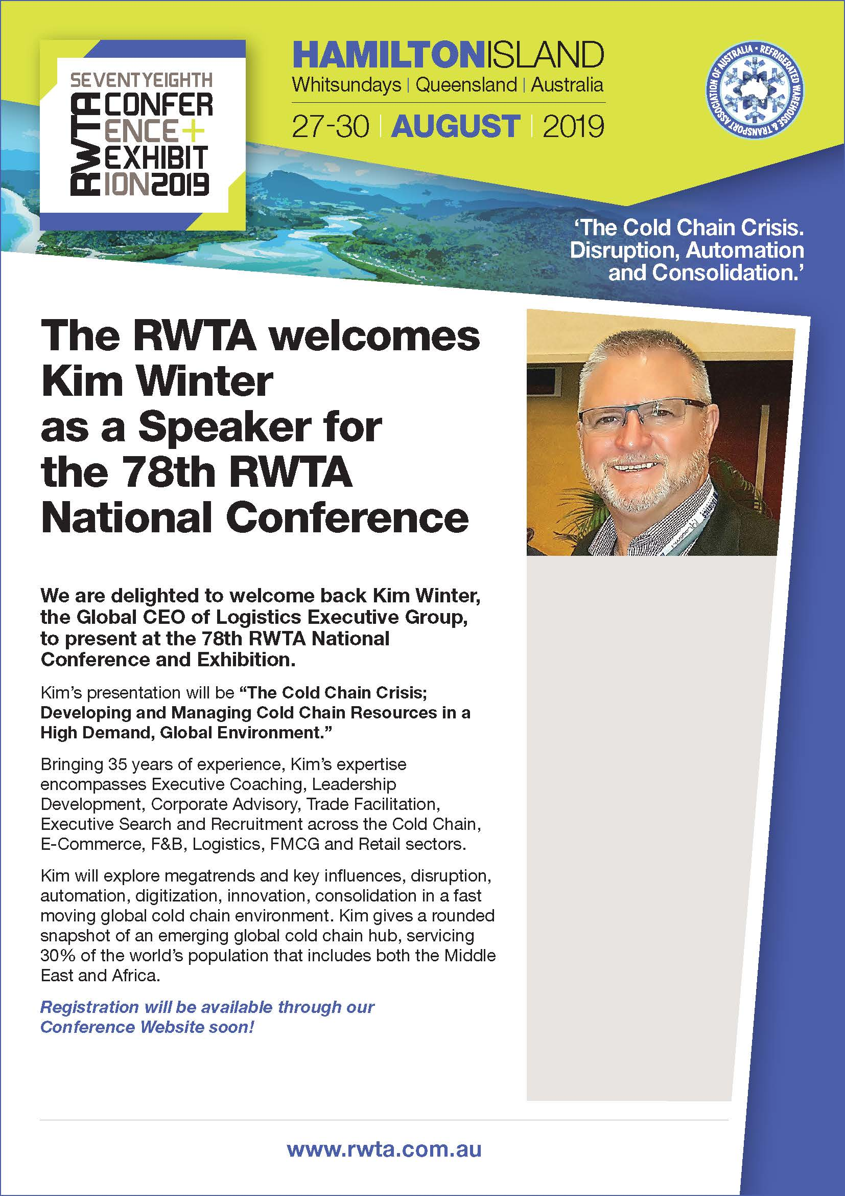 The RWTA welcomes Kim Winter as a Speaker for the 78th RWTA
