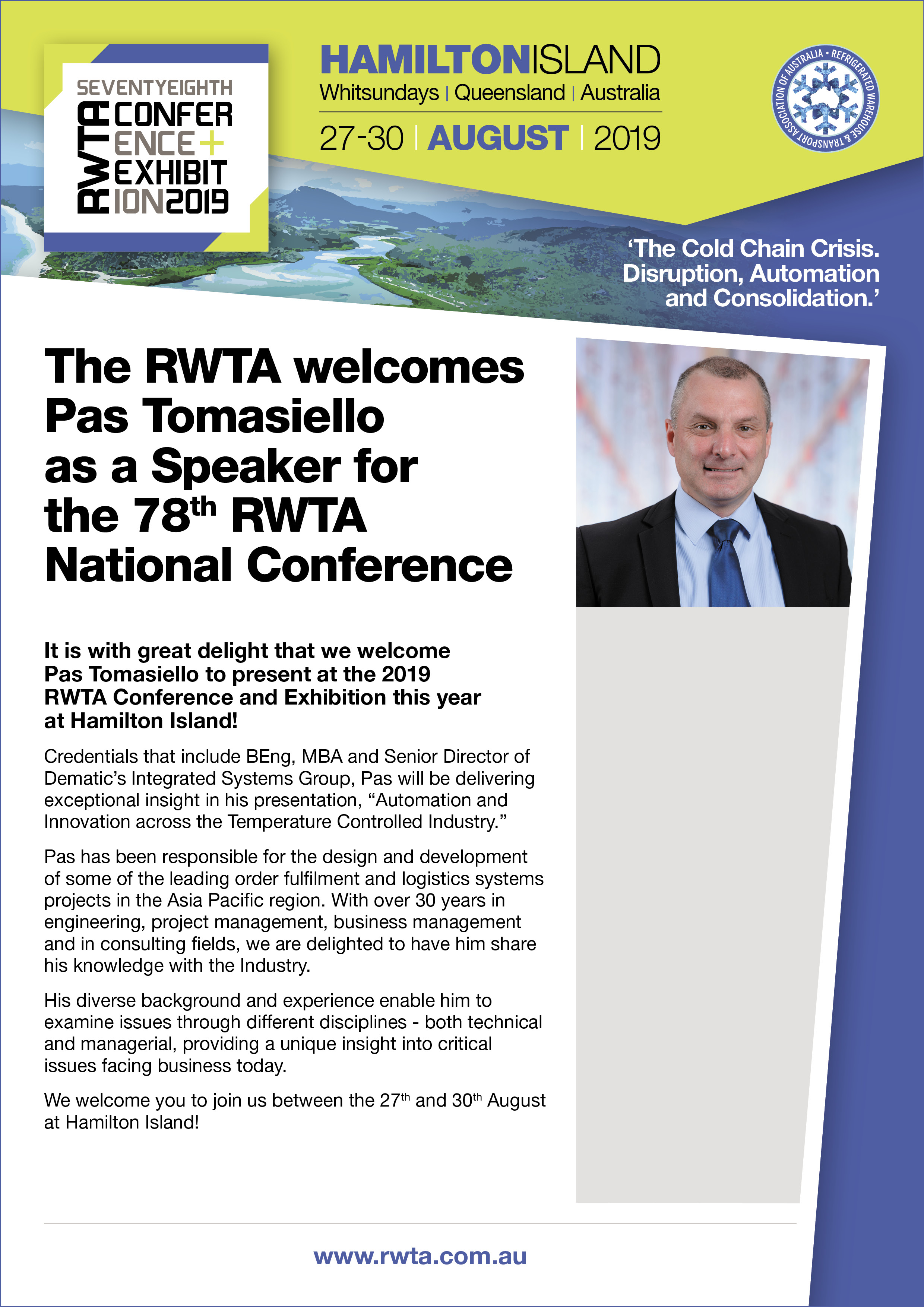 Pas Tomasiello to present at the 2019 RWTA Conference and